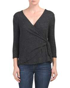 Made In Usa Three-quarter Sleeve Wrap Top