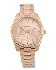 Women's Scarlette Crystal Bezel Multifunction Bracelet Watch
