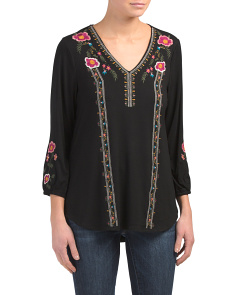 Gathered Sleeve Embroidered Top