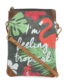 Upcycled Tropical Bliss Canvas Crossbody