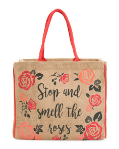 Upcycled Roses Burlap Tote