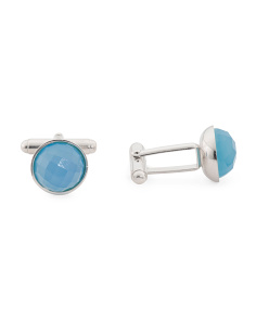 Men's Made In Italy Sterling Silver Blue Agate Cufflinks