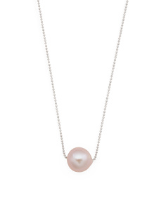 Made In Italy Sterling Silver Ming Pearl Sliding Necklace
