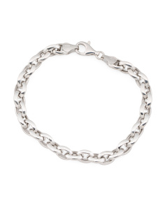Made In Italy Sterling Silver Knife Edge Link Bracelet