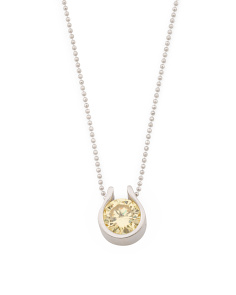 Made In Italy Sterling Silver Yellow Cz Adjustable Necklace