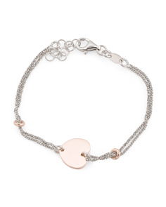 Made In Italy Two Tone Sterling Silver Heart Bracelet