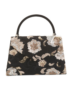 Floral Top Handle Evening Bag