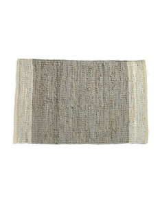 Made In India 24x36 Leather Scatter Rug