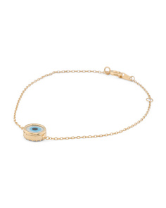 Made In Usa Gold Plate Sterling Silver Cz Evil Eye Bracelet