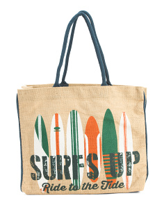 Upcycled Surfs Up Burlap Tote