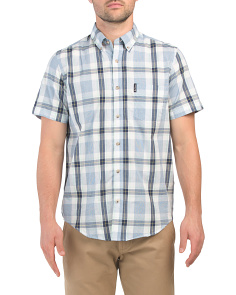 Short Sleeve Dogtooth Check Shirt