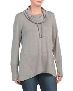 Long Sleeve Cowl Tunic With Back Buttons