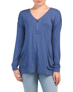 V-neck Quarter Zip Tunic With Drop Pockets