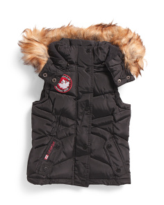 Little Girls Puffer Vest With Faux Fur Trim