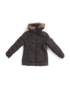Big Girls Bubble Jacket With Faux Fur Trim