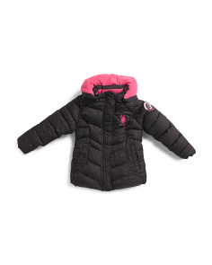 Little Girls Hooded Bubble Jacket