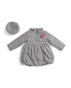 Little Girls Herringbone Wool Coat & Beret