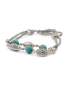 Made In Indonesia Sterling Silver 2 Row Turquoise Bracelet