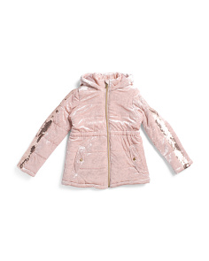 Big Girls  Crushed Velvet Hooded Jacket