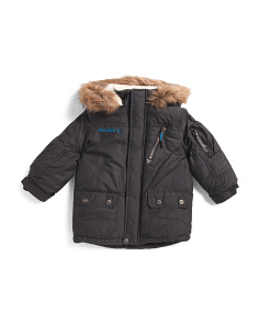 Little Boys Hooded Puffer With Faux Fur Trim