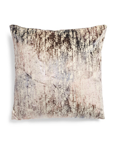 24x24 Distressed Printed Velvet Pillow
