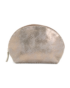 Made In Italy Leather Viper Cosmetic Pouch