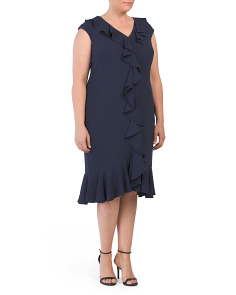 Plus Cascade Flounce Ruffle Dress