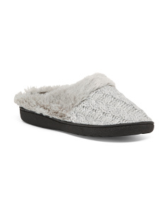 Shimmer Knit With Faux Fur Collar Slippers