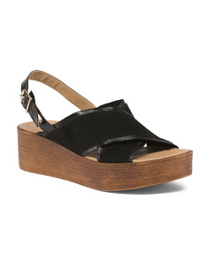 Made In Italy Suede And Leather Platform Sandals