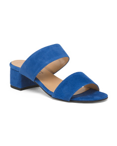 Made In Italy Suede Two Strap Slide Sandals