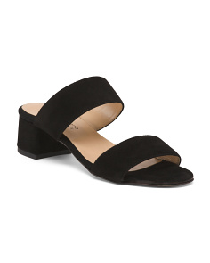 Made In Italy Two Strap Slide Suede Sandals