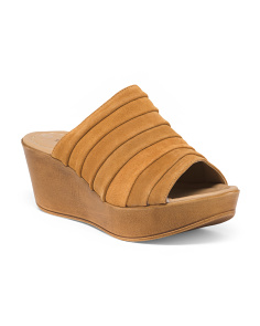 Made In Italy Suede Wedge Slide Sandals