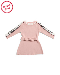 Infant Girls Tie Front Sweater Dress
