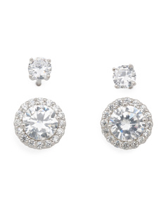 Set Of 2 Sterling Silver Cz Earrings