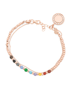 Rose Gold Plated Sterling Silver Multi Colored Cz Bracelet