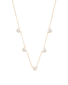 Sterling Silver Cz Heart Station Necklace