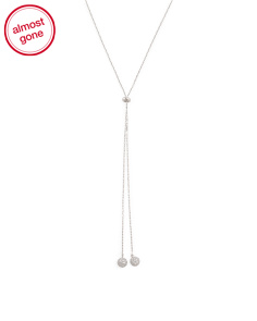 Sterling Silver Slider Pave Cz Ball Necklace