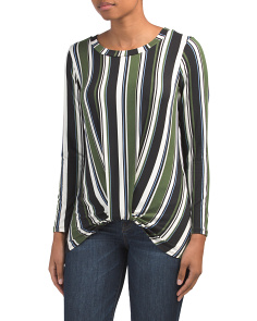 Long Sleeve Knot Stripe Top