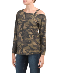Made In Usa One Off Shoulder Camo Top