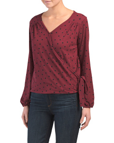 Made In Usa Polka Dot Wrap Top