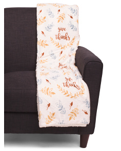 Give Thanks Reversible Sherpa Throw