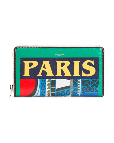 Made In Italy Paris Print Zip Leather Wallet