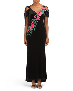 Petite Embroidered Tie  Sleeve Gown