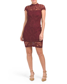 Petite High Neck Lace Sheath Dress