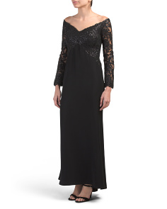 Petite Off The Shoulder Lace Gown