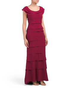 Petite Cap Sleeve Shutter Pleat Gown