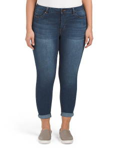 Plus High Waist Rolled Cuff Skinny Jeans