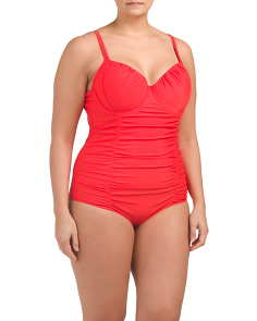 Plus Shirred One-piece Swimsuit