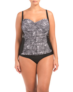 Plus Snake Print Tankini Set With Shirred Bottom