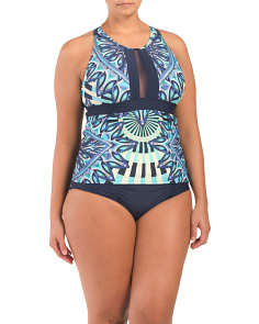 Plus Sunburst Halter Tankini Set